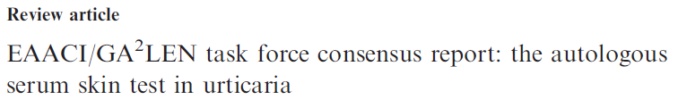 Documento EACCI/GA2: task force consensus report sull'orticaria autoimmune