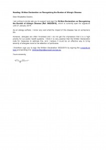 131122 Template letter from allergy patients to MEPs